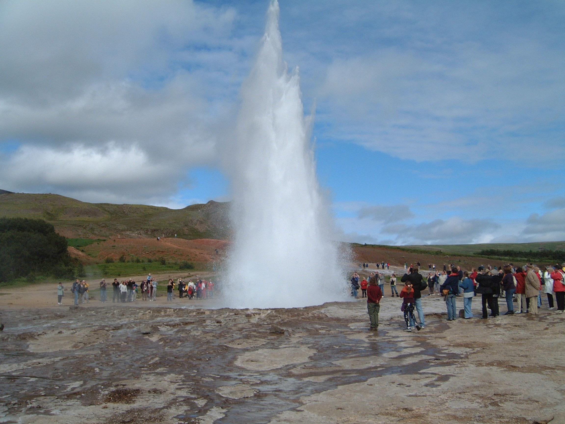 Strokkur in the Geysir field erupting.