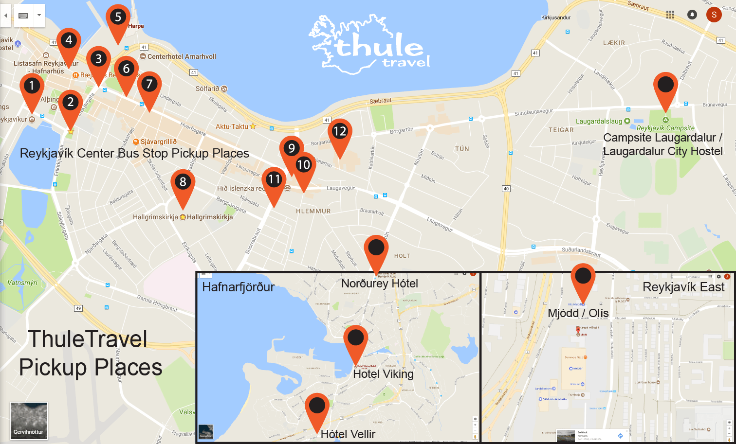 ThuleTravel Pickup Places