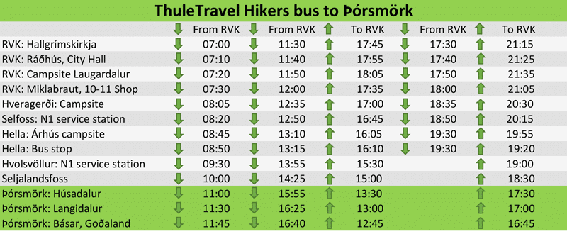 Timetable Þórsmörk Hikers bus