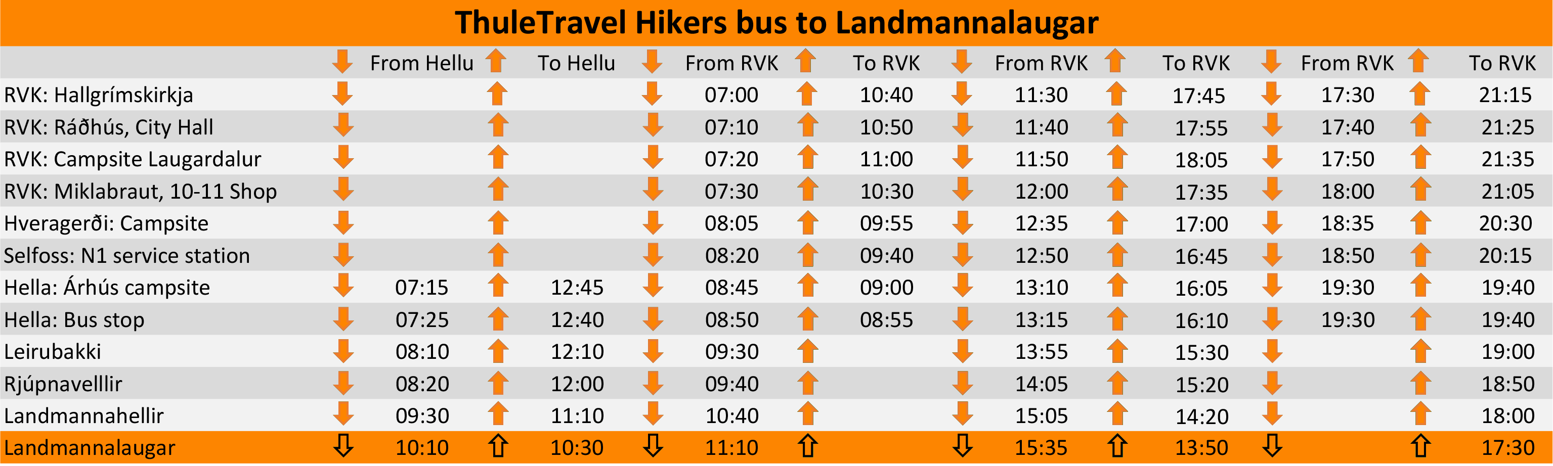 Hikers Bus Timtable Icleland
