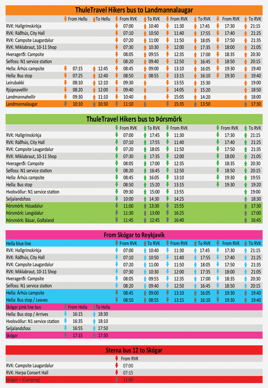 Hikers bus Timetable