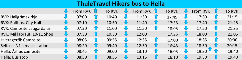Timetable ThuleTravel Hikers bus Hella